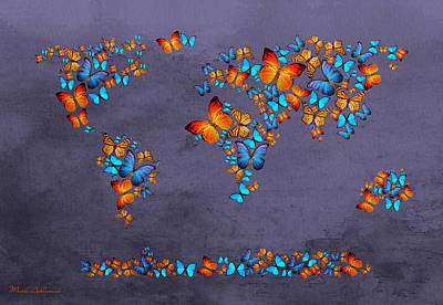 Dinosaur Digital Art - World Map  by Mark Ashkenazi
