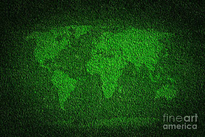 Turf Photograph - World Map On Green Grass Field Background by Michal Bednarek