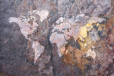 World Map On Stone Background Print by Michael Tompsett