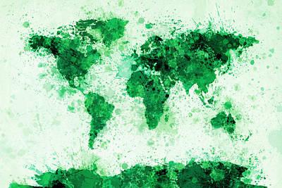 Panoramic Digital Art - World Map Paint Splashes Green by Michael Tompsett
