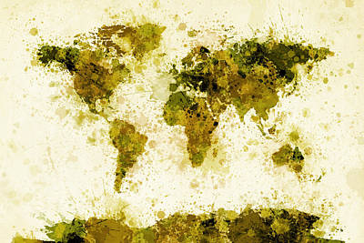 Mustard Digital Art - World Map Paint Splashes Yellow by Michael Tompsett