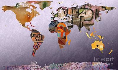Swiss Digital Art - World Map  Paul Klee 4 by John Clark