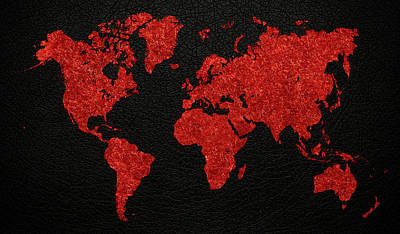Fabric Mixed Media - World Map Red Fabric On Dark Leather by Design Turnpike