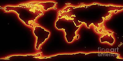 Panoramic Digital Art - World Map Red Glow by Pixel Chimp