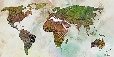 World Map Relief Original by Dragica  Micki Fortuna