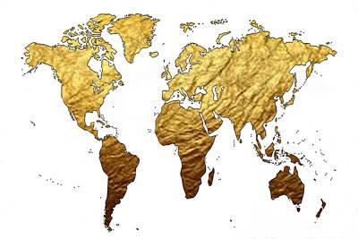 Modern Art Digital Art - World Map by Art Spectrum