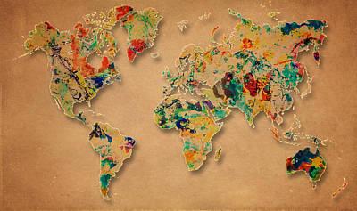 World Map Watercolor Painting 2 Original by Georgeta Blanaru