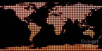 World Map Yellow Dots Print by Pixel  Chimp
