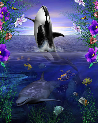 Orca Mixed Media - World Of Color by Robert Kelly