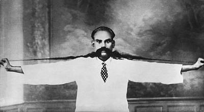 World Record Moustache Print by Underwood Archives