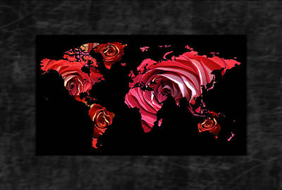 Flower Photograph - World Roses Map by Daryl Macintyre