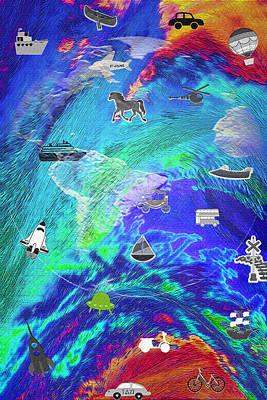 Canoe Mixed Media - World Transport - Digital Composite by Steve Ohlsen