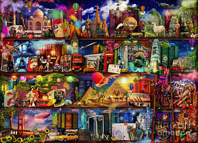 Mystery Digital Art - World Travel Book Shelf by Aimee Stewart