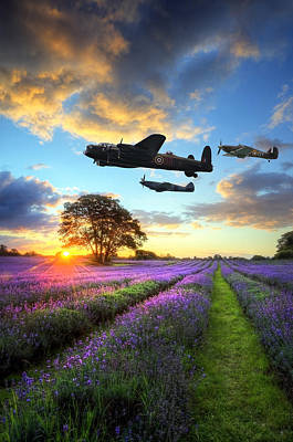 Raf Photograph - World War 2 Raf Airplanes Flying At Sunset Over Vibrant Lavender by Matthew Gibson