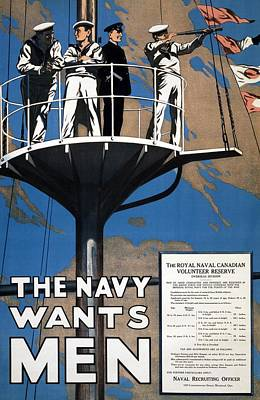 Royal Navy Drawing - World War I 1914 1918 Canadian Recruitment Poster For The Royal Canadian Navy  by Anonymous