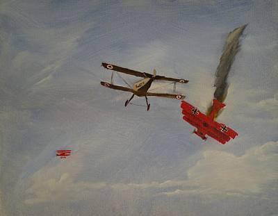World War I Dogfight 3 Planes In Battle Original by Carl S Kralich