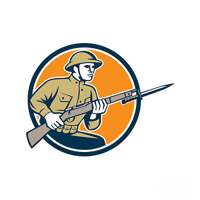 Bayonet Digital Art - World War One Soldier American Retro Circle by Aloysius Patrimonio