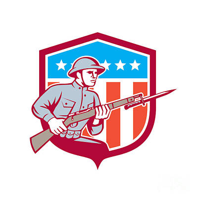 Bayonet Digital Art - World War One Soldier American Retro Shield by Aloysius Patrimonio
