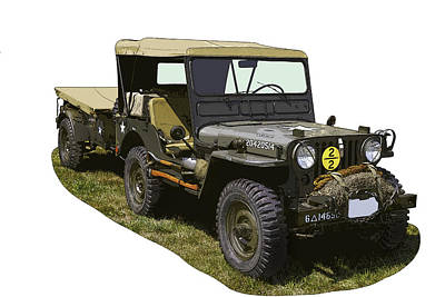 World War Two Army Jeep With Trailer  Print by Keith Webber Jr