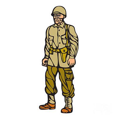World War Two Soldier Standing Linocut Print by Aloysius Patrimonio