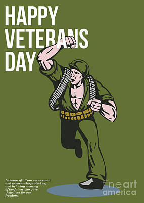 World War Two Veterans Day Soldier Card Print by Aloysius Patrimonio