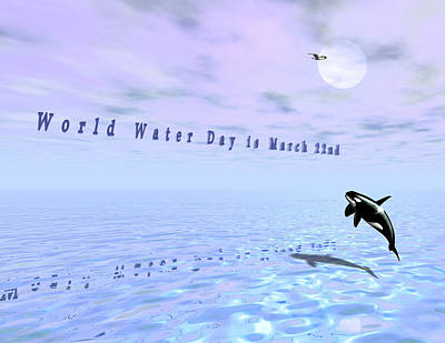 Orca Digital Art - World Water Day by Charles McChesney