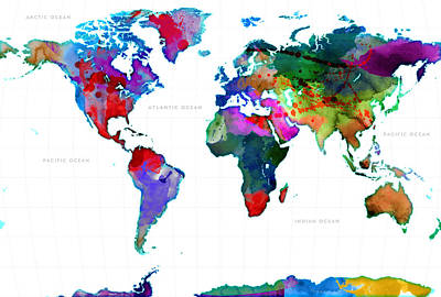 Watercolor Map Digital Art - World Watercolor Map #3 by Gary Grayson