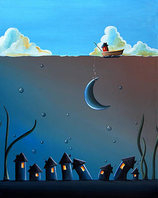 Fishing House Painting - Worlds Apart by Cindy Thornton