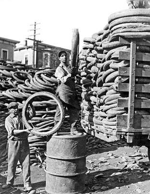 Old Time Photograph - World's Largest Tire Pile by -
