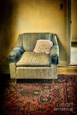 Empty Chairs Photograph - Worn Chair By Doorway by Jill Battaglia