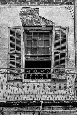 Worn Window - Bw Print by Christopher Holmes