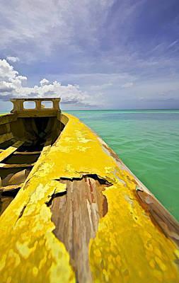 Worn Yellow Fishing Boat Of Aruba Print by David Letts