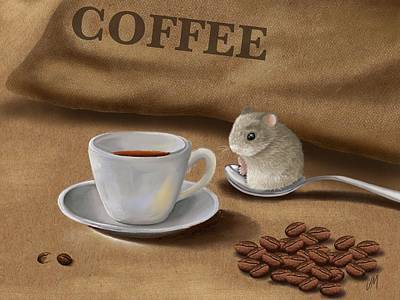 Digital Painting - Would You Like A Cup Of Coffee? by Veronica Minozzi