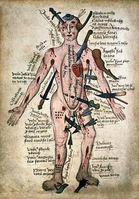 Slash Digital Art - Wound Man Medieval Anatomy Illustration C. 15th Century by Daniel Hagerman
