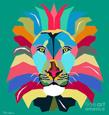 Cool Lion Digital Art - Wpap Lion by Mark Ashkenazi