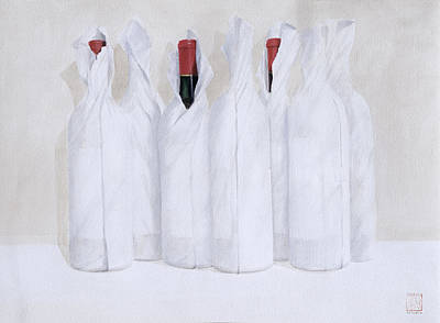 Wine Cellar Painting - Wrapped Bottles 3 2003 by Lincoln Seligman