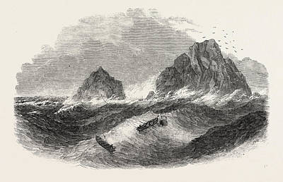 Wreck Of The New Commercial Brig, On The Brisson Rocks Print by English School