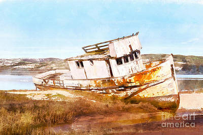 Dilapidated Digital Art - Wreck Of The Point Reyes Boat In Inverness Point Reyes California Dsc2069wc by Wingsdomain Art and Photography