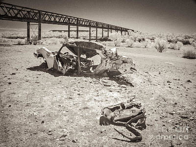 Wrecked Car In Riverbed Algebuckina Australia Print by Colin and Linda McKie