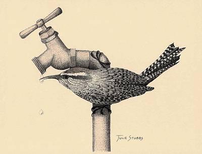 Wren Mixed Media - Wren Drop by Julie Stubbs