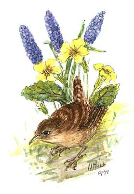 Wren In Primroses  Print by Nell Hill
