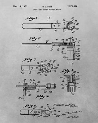 Monkeys Drawing - Wrench Patent Drawing by Dan Sproul