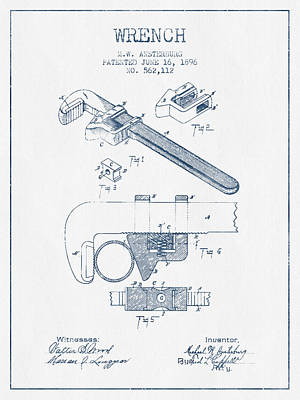 Wrench Patent Drawing From 1896- Blue Ink Print by Aged Pixel