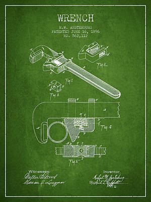 Monkey Drawing - Wrench Patent Drawing From 1896 - Green by Aged Pixel