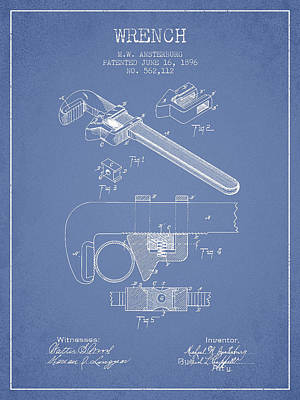 Wrench Patent Drawing From 1896 - Light Blue Print by Aged Pixel