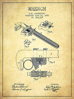 Monkey Digital Art - Wrench Patent Drawing From 1896 - Vintage by Aged Pixel