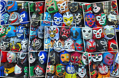 Wrestling Masks Of Lucha Libre Altered II Print by Jim Fitzpatrick