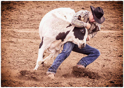 Cowboy Hat Photograph - Wrestling Match by Caitlyn  Grasso