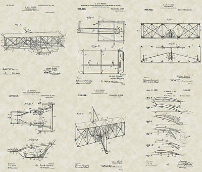 Wall Hanging Drawing - Wright Brothers Aircraft Patent Collection by PatentsAsArt