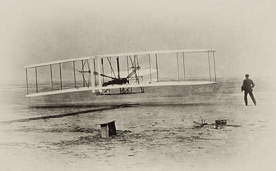 Wright Brothers - First In Flight Print by Digital Reproductions